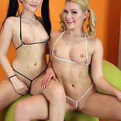 Teenikini Abby Cross and Karly Baker Black and White String Set 019 065
