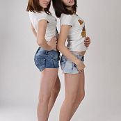 Silver Jewels Sage and Amber Denim Shorts Set 1 0853
