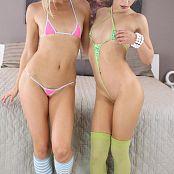 Teenikini Goldie and Nicole Bikinis in Bed Set 026 706