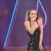 Kylie Minogue sexy wearing lingerie Shocked World Music Awards1991 Black PVC corset 201017 mpg