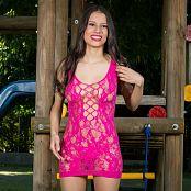 Britney Mazo Pink Lacey Mesh Mini Dress TBS Set 006 068