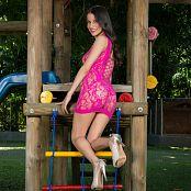 Britney Mazo Pink Lacey Mesh Mini Dress TBS Set 006 078