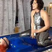 LatexBarbie Pink Catsuit & Blue Vacuum Bed Liveshow HD Video