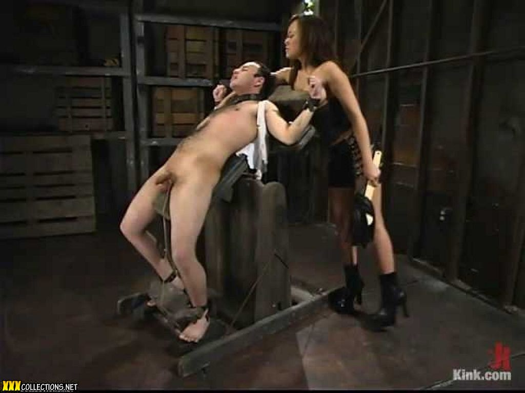 Exotic girl annie cruz gives head to her bald master in suspension bondage