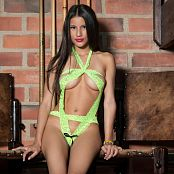 Britney Mazo Lacey Green Ribbon T Back TBS Set 021 011